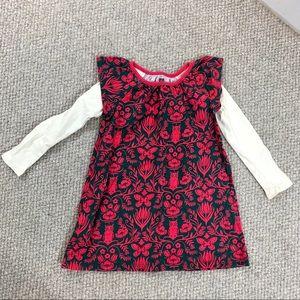 Tea Collection Green & Pink Owl Girls Dress Sz 4